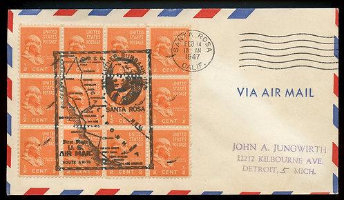 U.S. Scott 803 (12) Prexies on 1947 Santa Rosa, California First Flight Cover