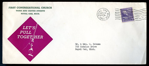 U.S. Scott 842 on 1951 Ad Cover for First Congregational Church in Royal Oak, MI