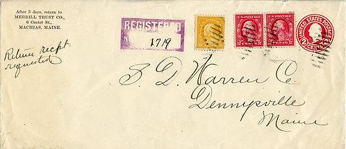 U.S. Scott 510, 499 on Registered Ret. Rcpt. on U429 Envelope Front from Maine