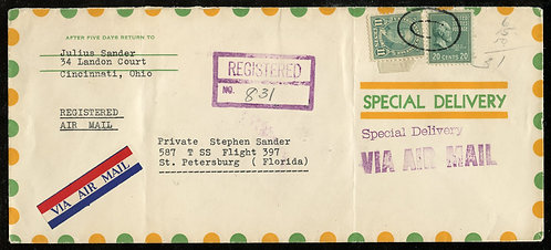 U.S. Scott 825 and 692 on 1948 Registered Airmail Special Delivery Cover