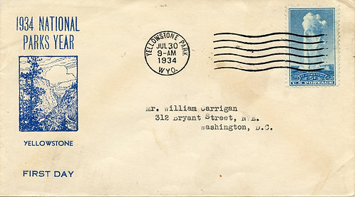 U.S. Scott 744 FDC Post Marked in Yellowstone National Park