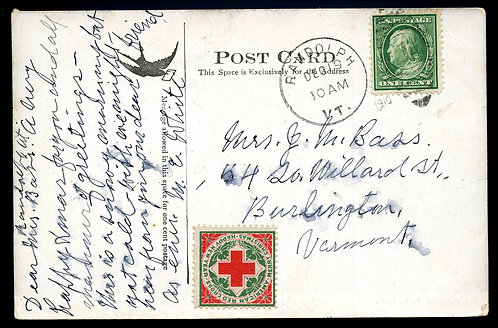 U.S. Scott 331 on 1910 Post Card with Untied WX6 Christmas Seal