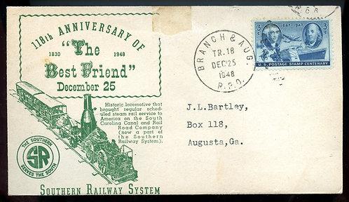 U.S. Scott 947 On Branch & Augusta RPO Best Friend Railroad Event Cover