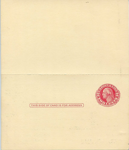 U.S. Scott UY13 Unused 2 Cent George and Martha Washington Reply Postal Card