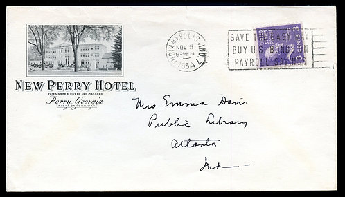 U.S. Scott 842 on 1954 Ad Cover for the New Perry Hotel in Perry, Georgia