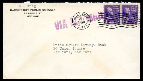 U.S. Scott 807 (2) on 1941 Air Mail Ad Cover for Garden City Public Schools