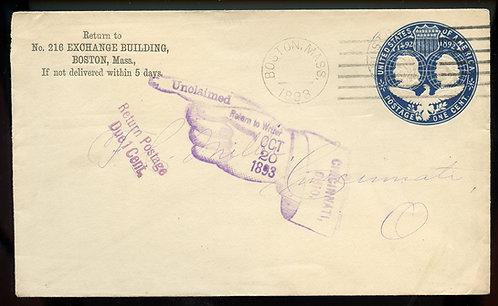 U.S. Scott U348 1893 Stamped Envelope w/Unclaimed & Return Postage Due Markings