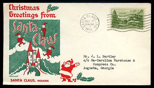 U.S. Scott 999 on 1951 Christmas Cover from Santa Claus, Indiana