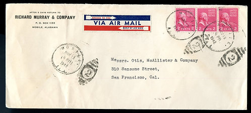 U.S. Scott 806 (3) Prexies on 1942 Alabama Air Mail Letter