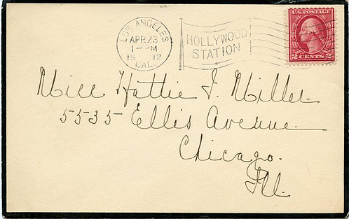 U.S. Scott 406 on 1912 Mourning Cover Sent from Los Angeles, California