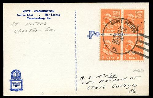 U.S. Scott 803 (4) on 1951 Ad Post Card for Hotel Washington in Chambersburg, PA