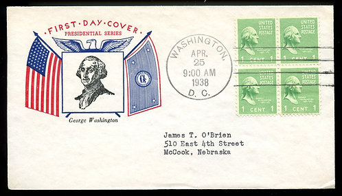 U.S. Scott 804 (4) Fidelity FDC Post Marked in Washington, DC