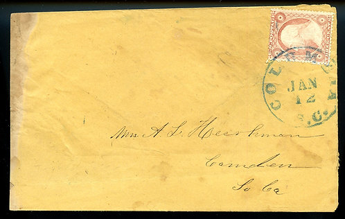 U.S. Scott 26 on Pre-Civil War Turned Cover with Blue Columbia, SC Cancel