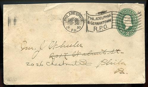 U.S. Scott U317 1897 Stamped Envelope w/Philadelphia & Germantown RPO