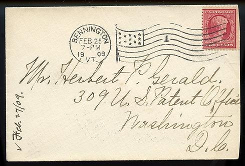 U.S. Scott 367 on 1909 Cover to Washington, DC w/Flag Cancel