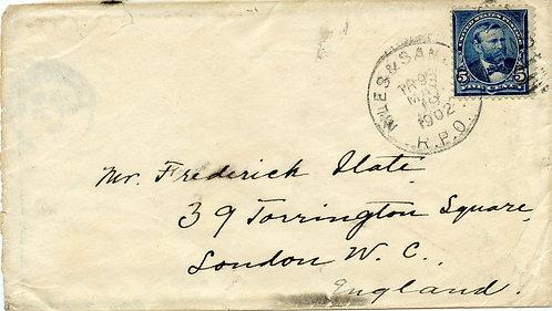 U.S. Scott 281 on 1902 Niles & San Jose RPO UPU Surface Letter to London England
