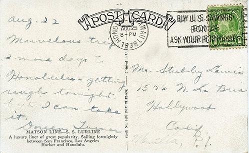 U.S. Scott 632 on 1938 Post Card Picturing Matson Line SS Lurline