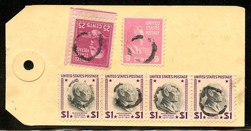 U.S. Scott 832 (4), 829 and 814 Prexies on Registered  Illinois Bank Tag