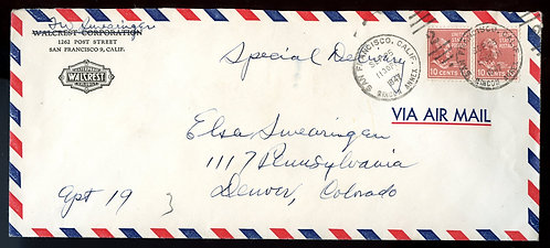 U.S. Scott 815 (2) Prexies on Air Mail Special Delivery California Cover