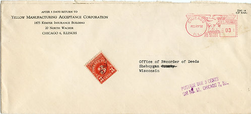 U.S. Scott J82 On Metered Yellow Manufacturing Acceptance Corporation Envelope