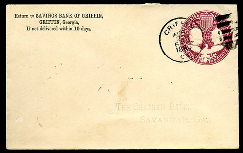 U.S. Scott U349 1893 Stamped Envelope w/Griffin, Georgia Hand Cancel