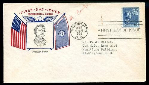 U.S. Scott 819 Fidelity FDC Post Marked in Washington, DC
