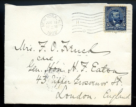 U.S. Scott 281 on 1902 UPU Surface Letter to London, England