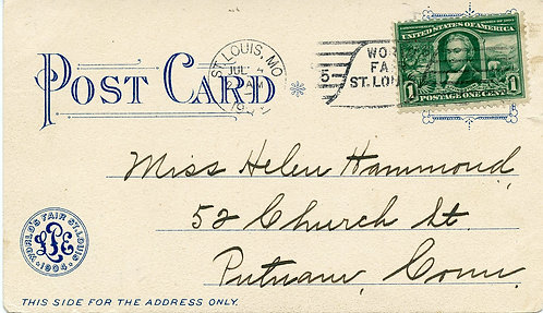 U.S. Scott 323 On 1904 Post Card from St. Louis World's Fair