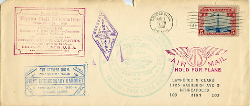 U.S. Scott C11 on 1930 Cover Inaugurating Air Service Bet. Chicago & Rochester