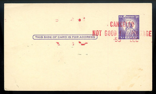 "U.S. Scott UX46 Marked ""CANCELEDNOT GOOD FOR POSTAGE"""
