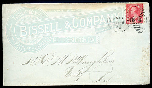 U.S. 1st Bur. Issue on 1895 Ad Cover for Bissell & Company in Pittsburgh, PA