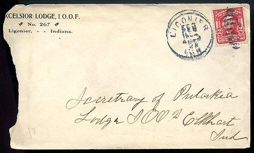 U.S. Scott 319 on 1904 Ad Cover for Excelsior Lodge No. 267 I. O. O. F.