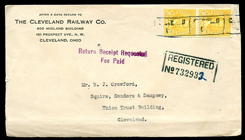U.S. Scott 642 (2) on 1934 Registered Ad Cover for Cleveland Railway Co.