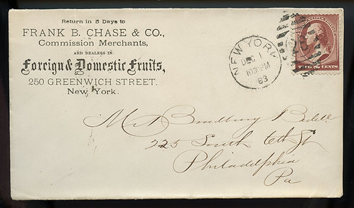 U.S. Scott 210 Bank Note Issue On 1883 Ad Cover for Chase Fruits