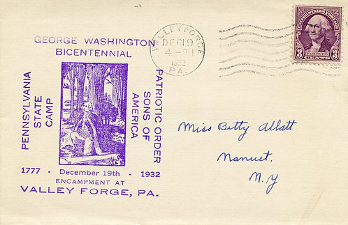 U.S. Scott 720 on 1932 Cover for Washington's Encampment at Valley Forge