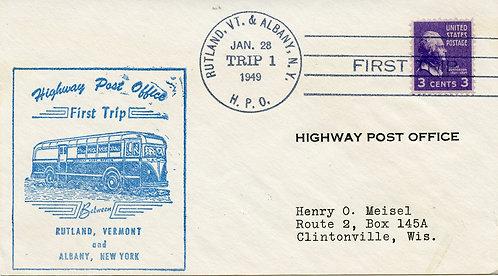 U.S. Scott 807 on 1949 Rutland, Vt. & Albany, N.Y. HPO 1st Trip