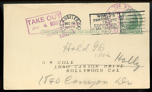 U.S. Scott UX27 Used 1 Cent Postal Card w/Directory Search and TAKE OUT Markings