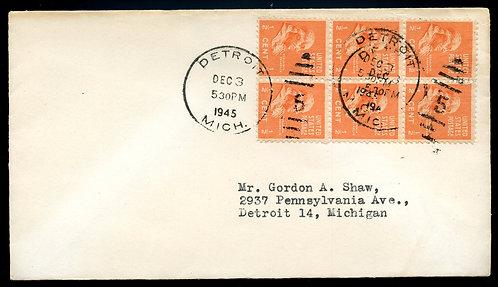 U.S. Scott 803 (6) Prexies on 1945 Michigan First-Class Letter