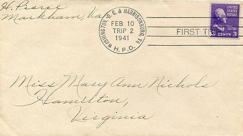 U.S. Scott 807 on 1941 Washington, D.C. & Harrisonburg, VA HPO Cover
