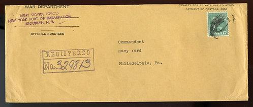 U.S. Scott 825 Solo Prexie on Registered 1944 Penalty Envelope