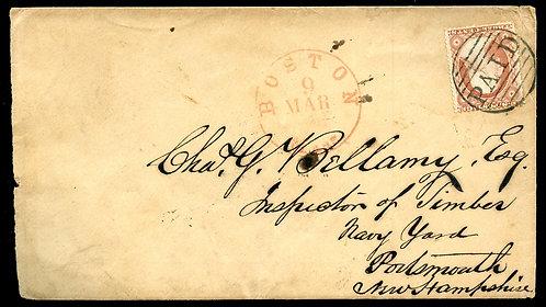U.S. Scott 26 on Late1850s-Era Cover with Boston PAID Cancel