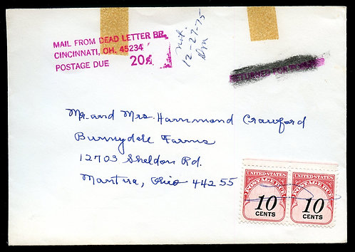 U.S. Scott J92 On Letter Sent to Dead Letter Office w/o Stamp or Return Address