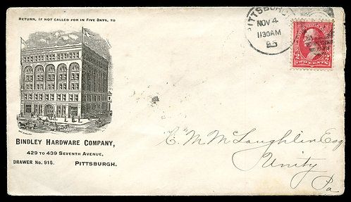 U.S. Type III 1st Bur. on 1895 Ad Cover for Bindley Hardware in Pittsburgh, PA