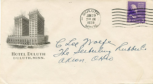 U.S. Scott 807 on Ad Cover for Hotel Duluth in Duluth, Minnesota