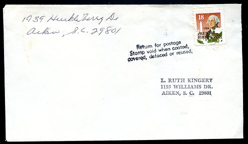 "U.S. Scott 2149 On Cover to Aiken, SC Marked ""Return for postage..."""