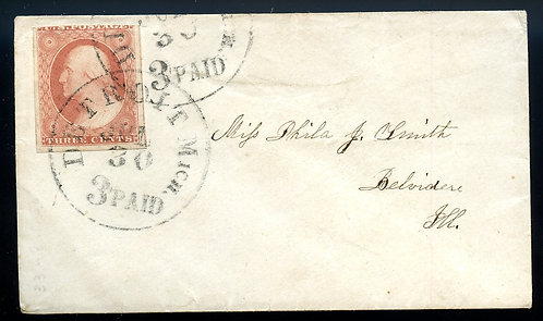 U.S. Scott 11 on Late1850s-Era Cover with Detroit 3 PAID Cancel