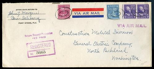 U.S. Scott 829, 810 and 807 (2) Prexies on Registered Return Receipt 1950 Co