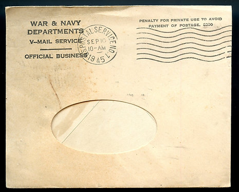 V-Mail Sent September 10, 1945 From Army Officer to Aiken, South Carolina