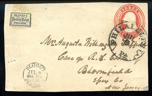 U.S. Scott 15L14 Acid Tied on U10 Piece w/Blood's JUL 9 1857 Handstamp