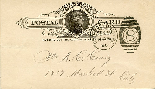 U.S. Scott UX9 Used 1 Cent Postal Card Picturing Thomas Jefferson